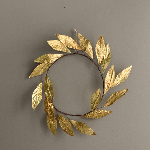Paper Leaf Wreath - Gold