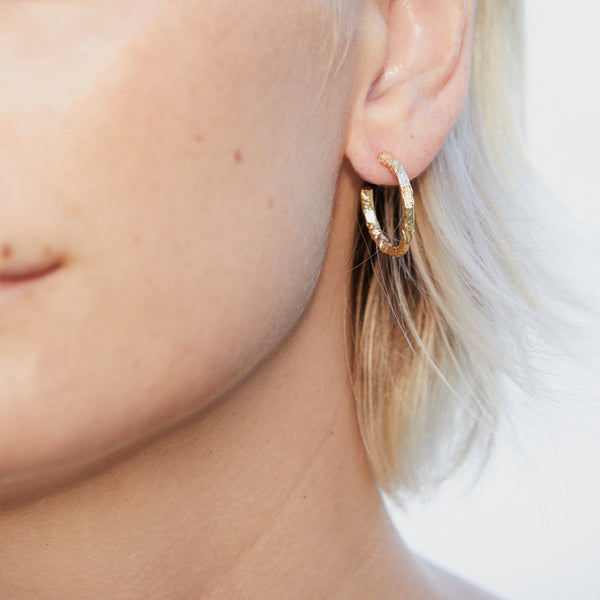 Hammered Gold Plated Hoop Earring
