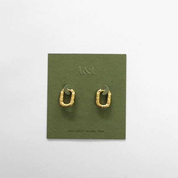 Hammered Gold Plated Huggie Earring