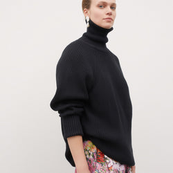 Henri Roll Neck Jumper - Black
