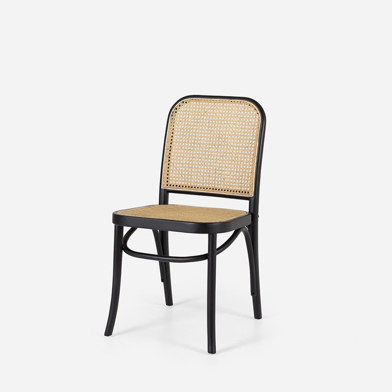 Harvey Rattan Chair - Black / Oak