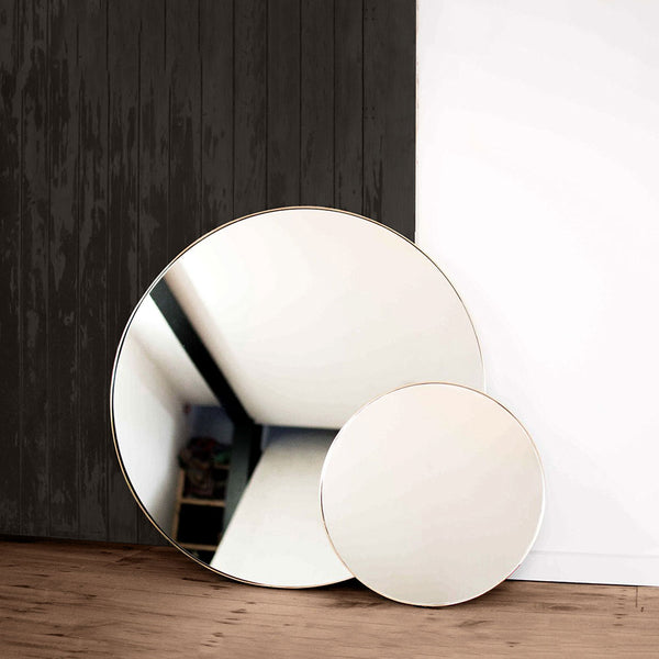 Brass 500mm Outline Mirror by Joska & Sons