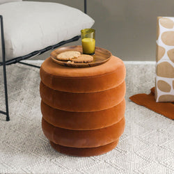 Kennedy Ribbed Ottoman - Burnt Orange