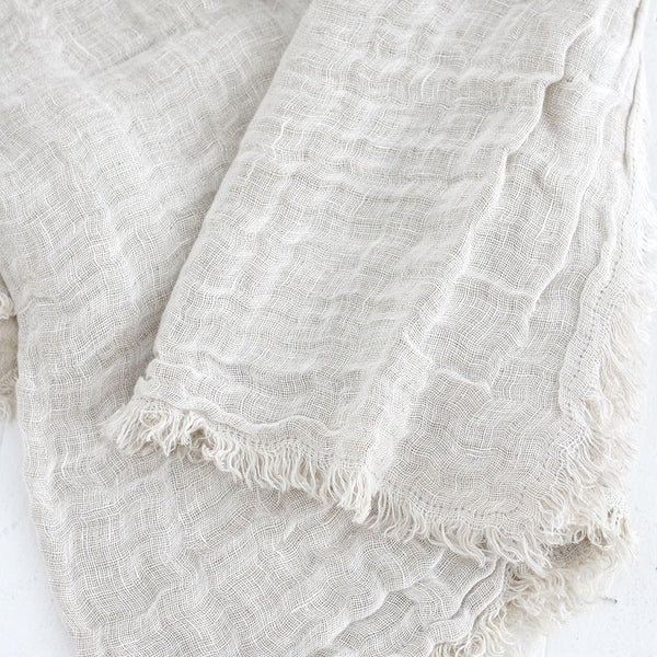 Kent Linen Throw - White