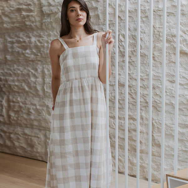 Linen Kim Picnic Dress - Gingham