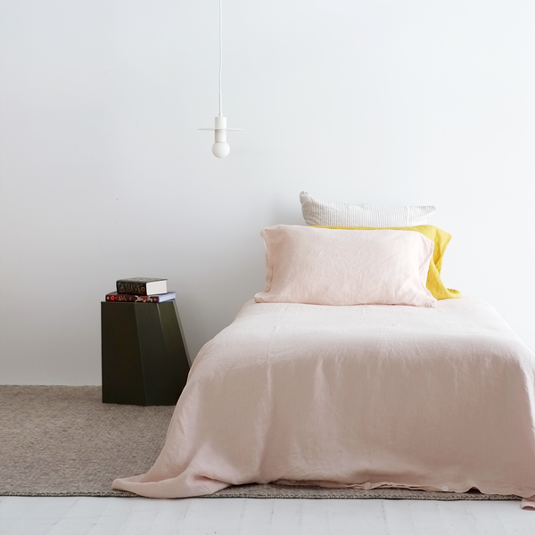 A&C Flax Linen Duvet Cover King Single - Dusky Pink