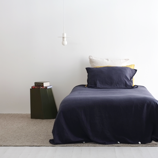 A&C Flax Linen Duvet Cover King Single - Midnight Navy