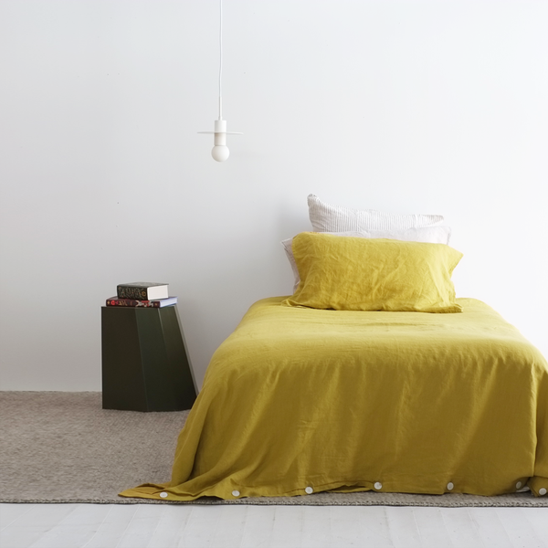 A&C Flax Linen Duvet Cover King Single - Ochre
