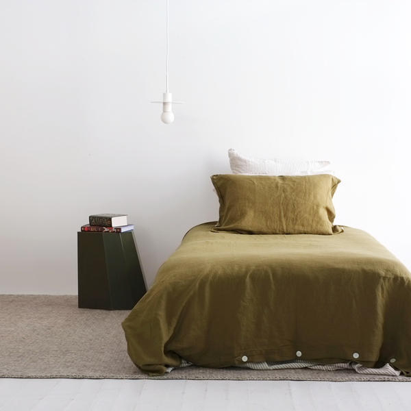 A&C Flax Linen Duvet Cover King Single - Olive