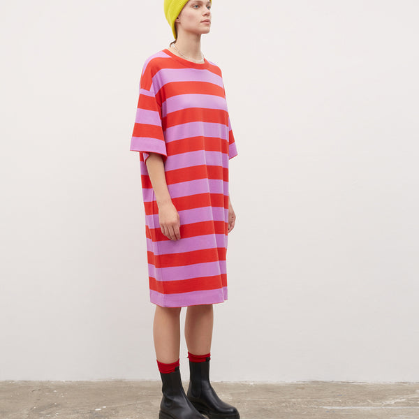 T Shirt Dress - Red Purple Stripe