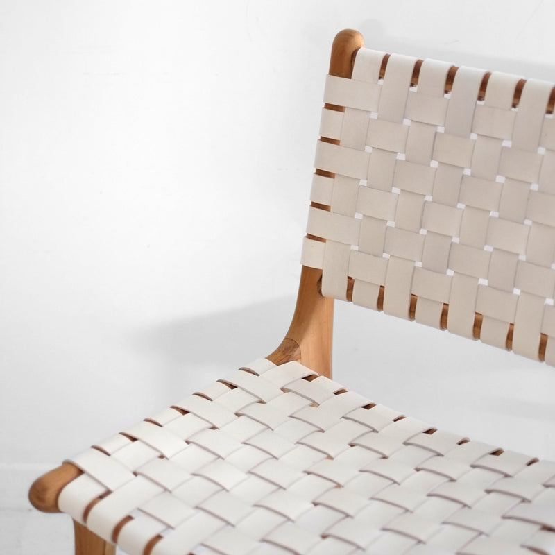 Leather Weave Dining Chair - White