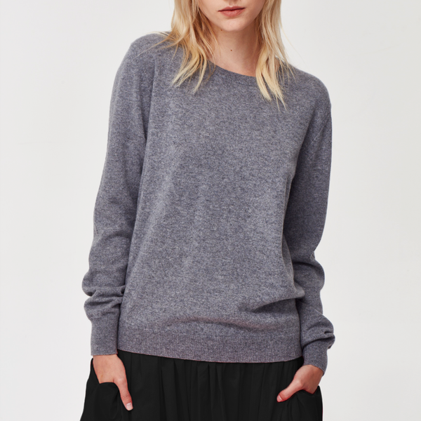 Sam 100% Cashmere Crew Neck Jumper - Charcoal
