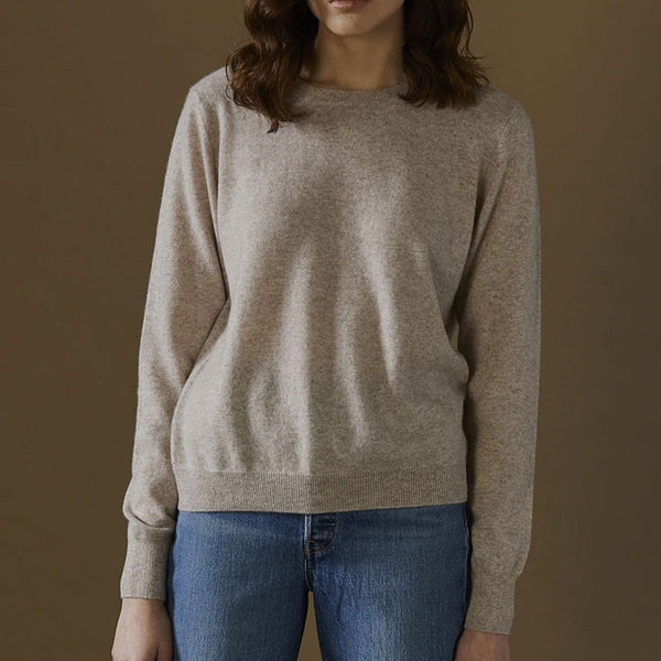 Sam 100% Cashmere Crew Neck Jumper - Oatmeal