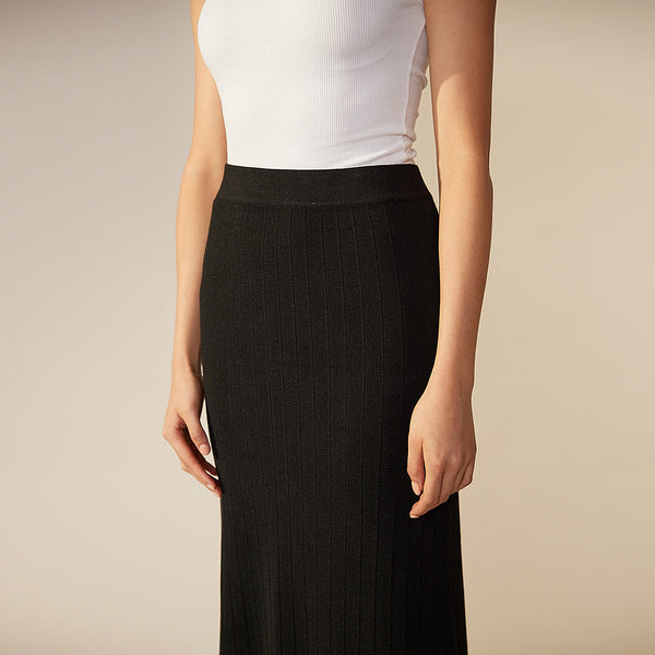 Harry Ribbed Knit Skirt - Black