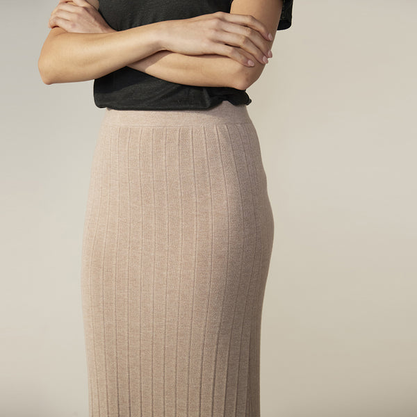 Harry Ribbed Knit Skirt - Wheat