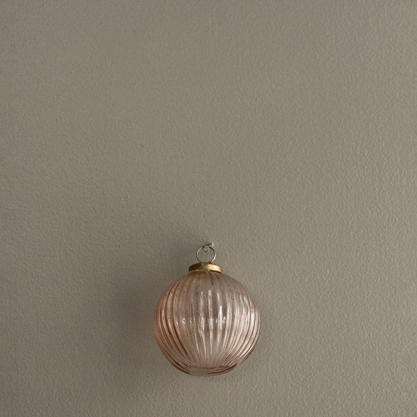 Large Rose Gold Ridged Bauble