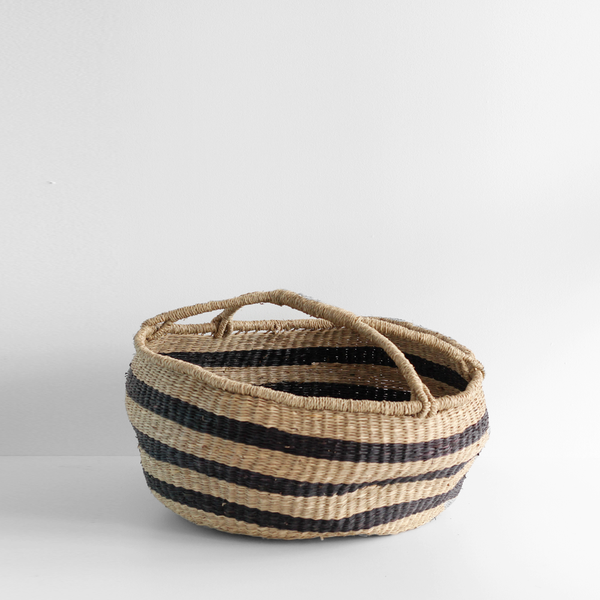 Large Slouched Black Striped Basket