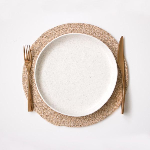 Round Placemat - White and Natural
