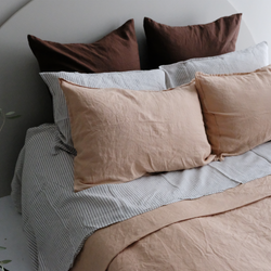 A&C Flax Linen Pillowcases - Biscuit