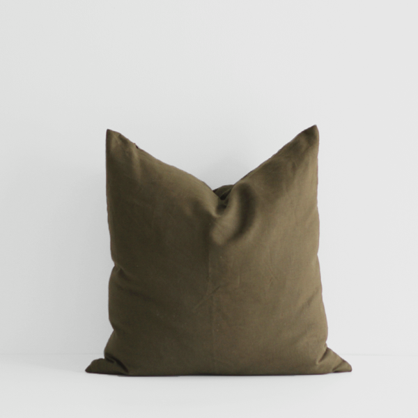 A&C Linen Large Cushion - Deep Olive
