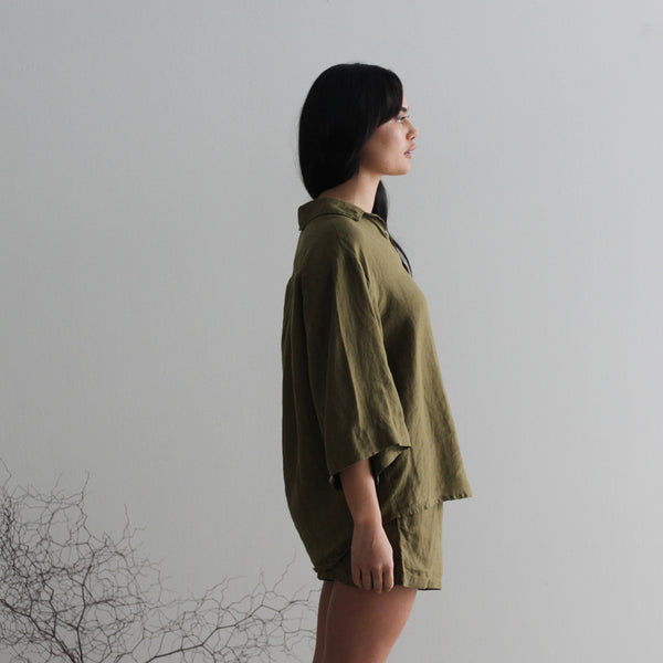 A&C Linen Lounge Shirt Wide Sleeve - Olive