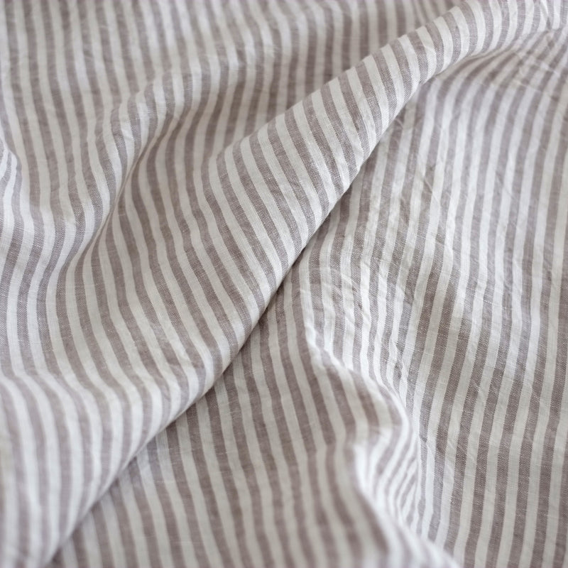 A&C Flax Linen Fitted Sheet - Grey Stripe
