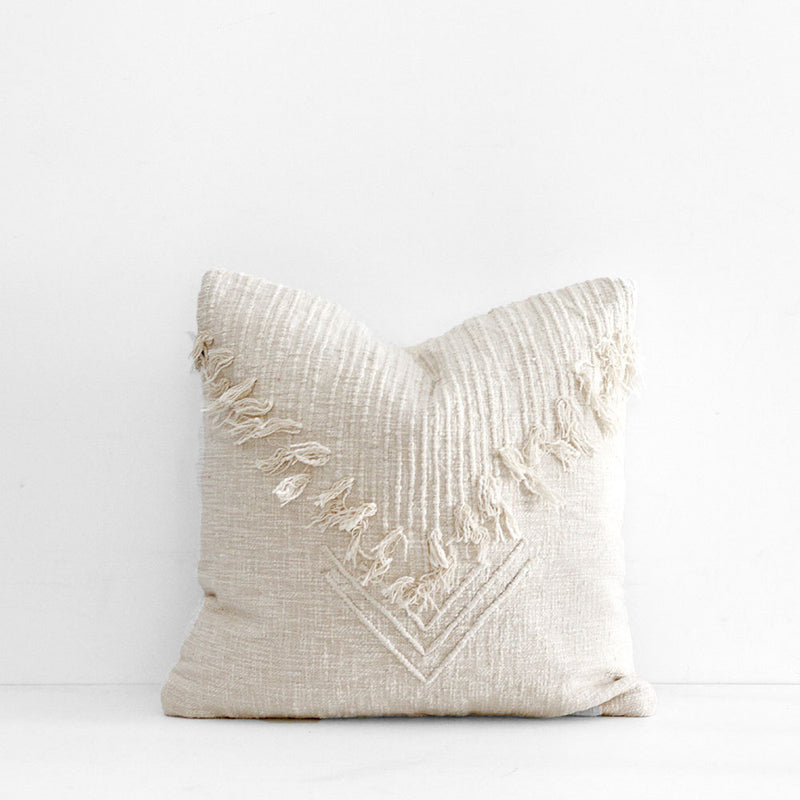 Madam Fringe Cushion - Off White