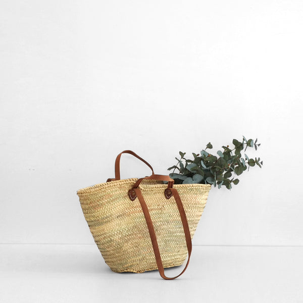 Market Bag with Double Leather Handles