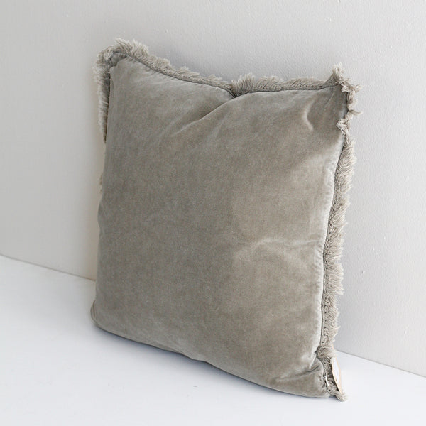 Martha Velvet Fringed Cushion - Taupe