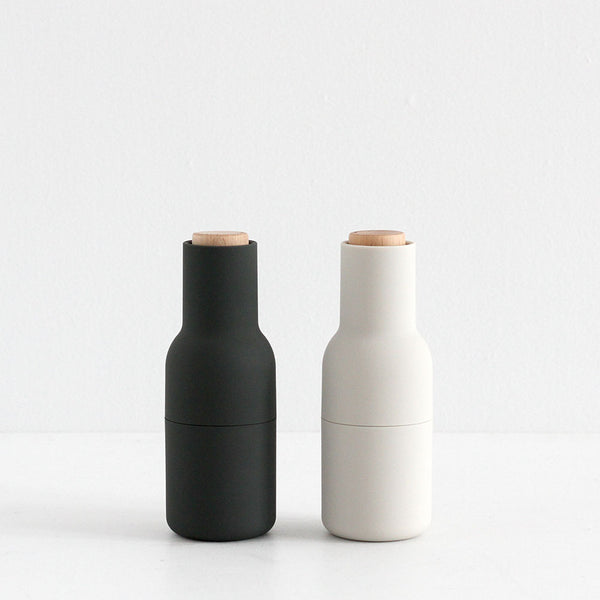 MENU Salt & Pepper Grinders - Ash and Carbon (Wooden Lid)