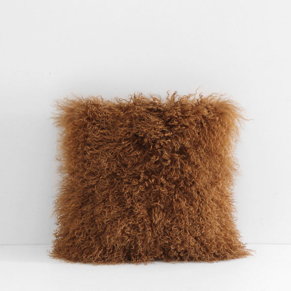 Meru Tibetan Lamb Cushion - Cassia Bark