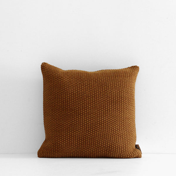 Milford Moss Stitch Cushion - Saddle