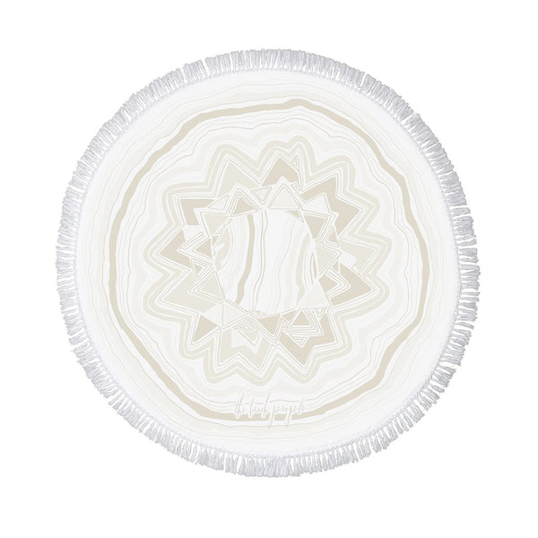 Mirage Roundie Beach Towel - Sand / White