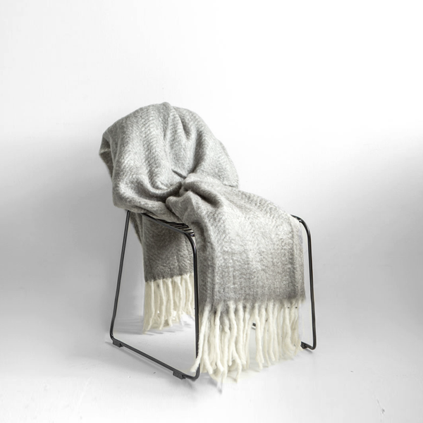 Mohair Fringe Throw - Light Grey/Ivory