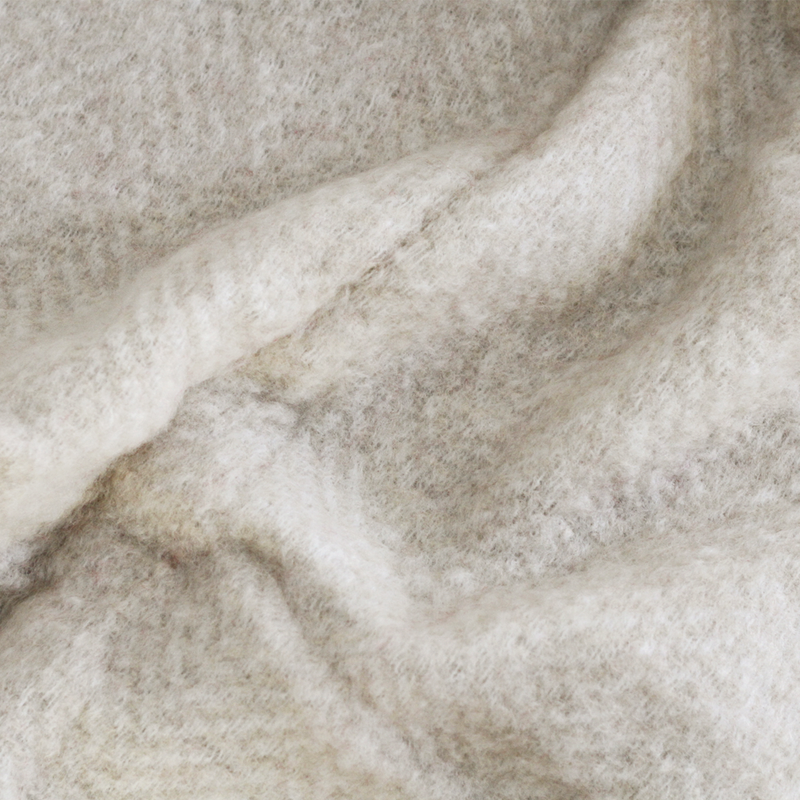 Mohair Blend Herringbone Throw - Bone White