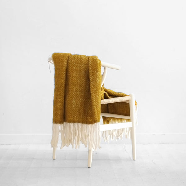 Wool Blend Herringbone Throw - Wood Thrush