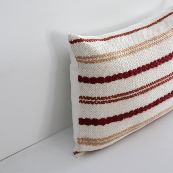 Nelson Cushion - Red/Orange Stripe