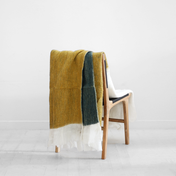 Nova Striped Throw - Mustard / Pine
