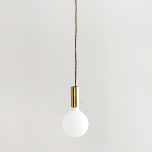 Tube Rail Brass Pendant - Natural Cord