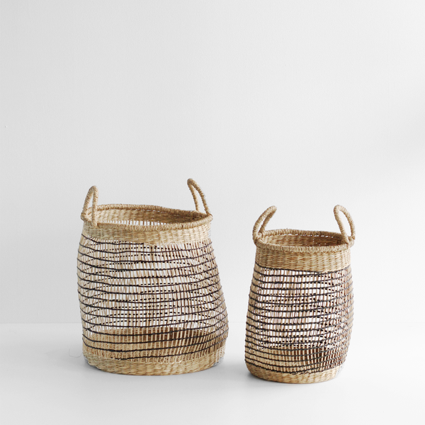 Natural Black Open Weave Round Baskets - Set 2