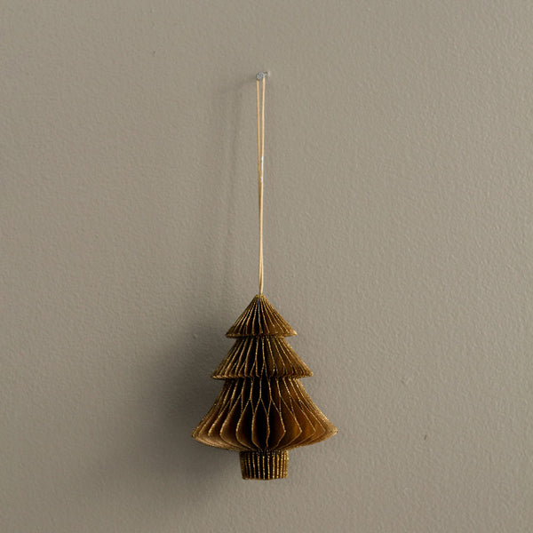 Paper Tree Decoration - Gold Glitter