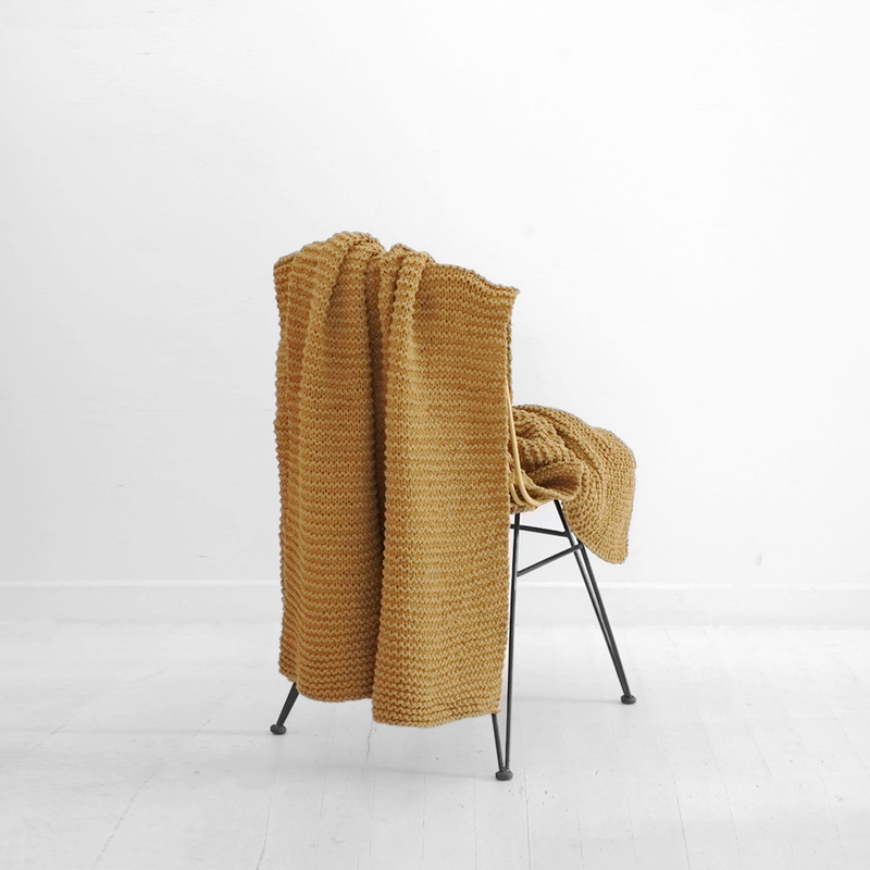 Purl Knit Cotton Throw - Pear