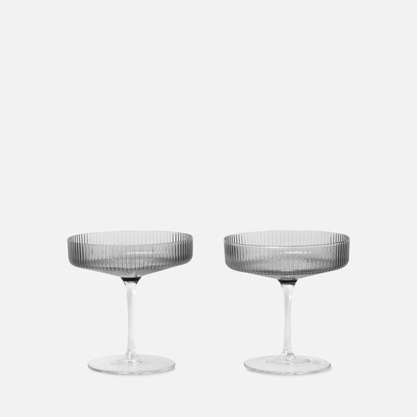 Ripple Champagne Saucer - set of 2 Smoked Grey