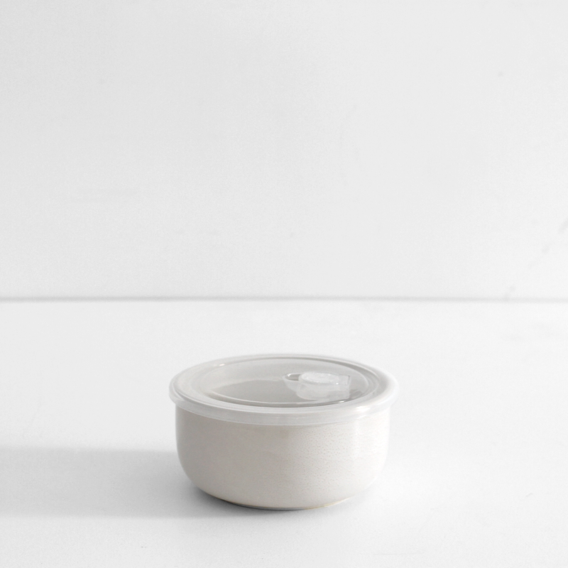 Ceramic Round Travel Container - Cream
