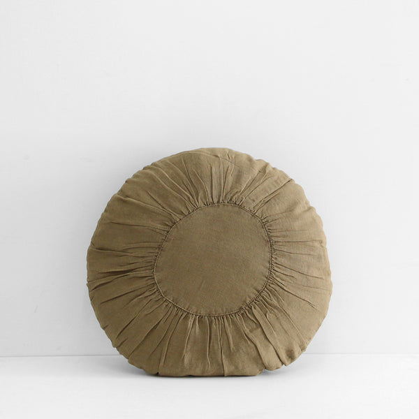 Round Linen Cushion - Tobacco