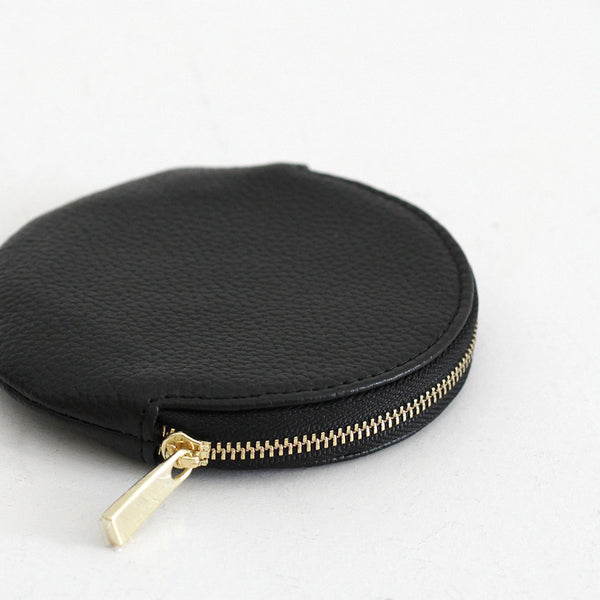 Roundie Leather Coin Purse - Black