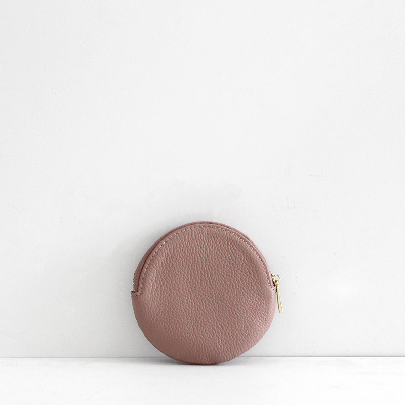 Roundie Leather Coin Purse - Pale Pink