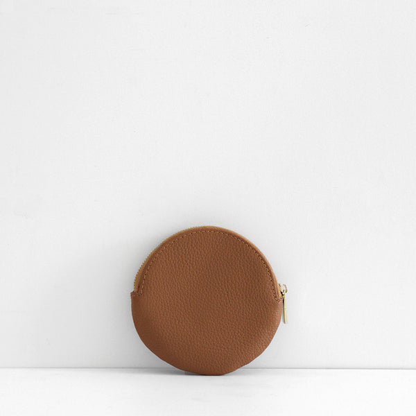 Roundie Leather Coin Purse - Tan