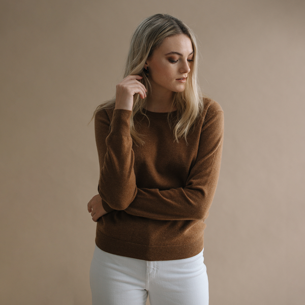 Sam 100% Cashmere Crew Neck Jumper - Whisky