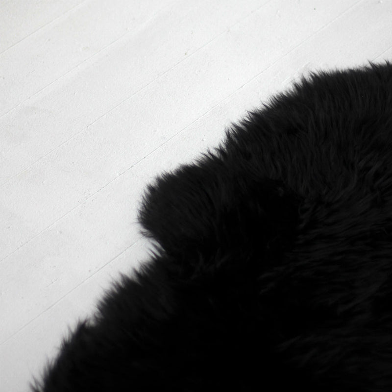 New Zealand Long Wool Sheep Skin Rug - Black